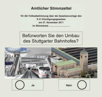 Optimierter Stimmzettel Stuttgart 21