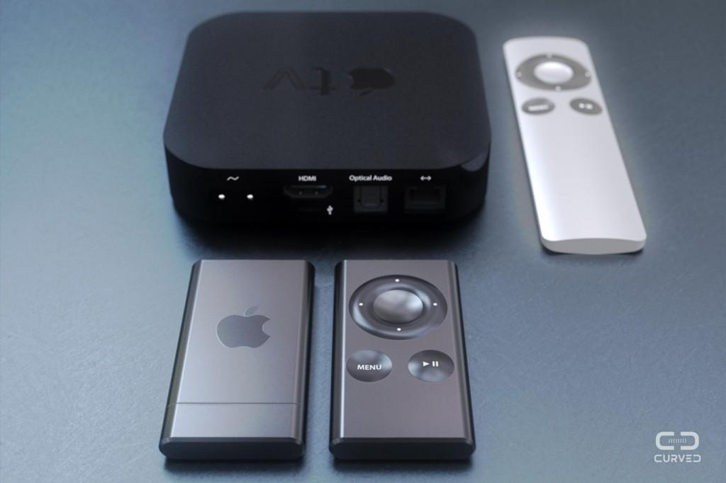 Oben das aktuelle AppleTV mit silberner Fernbedienung, darunter die Air-Version.
