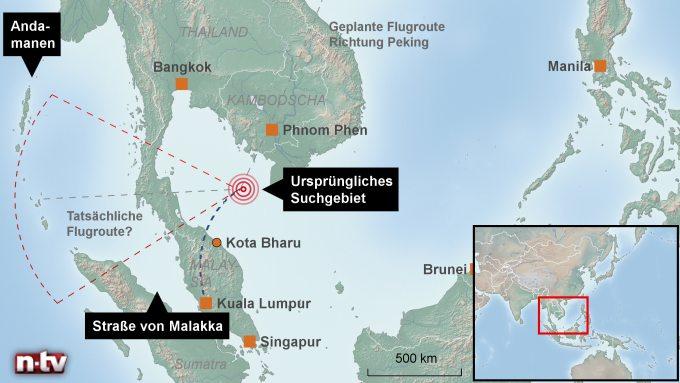 Wo flog Flug MH370 hin? Quelle: Medien.