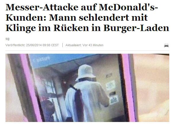 Mit Küchenmesser im Rücken zum McDonalds