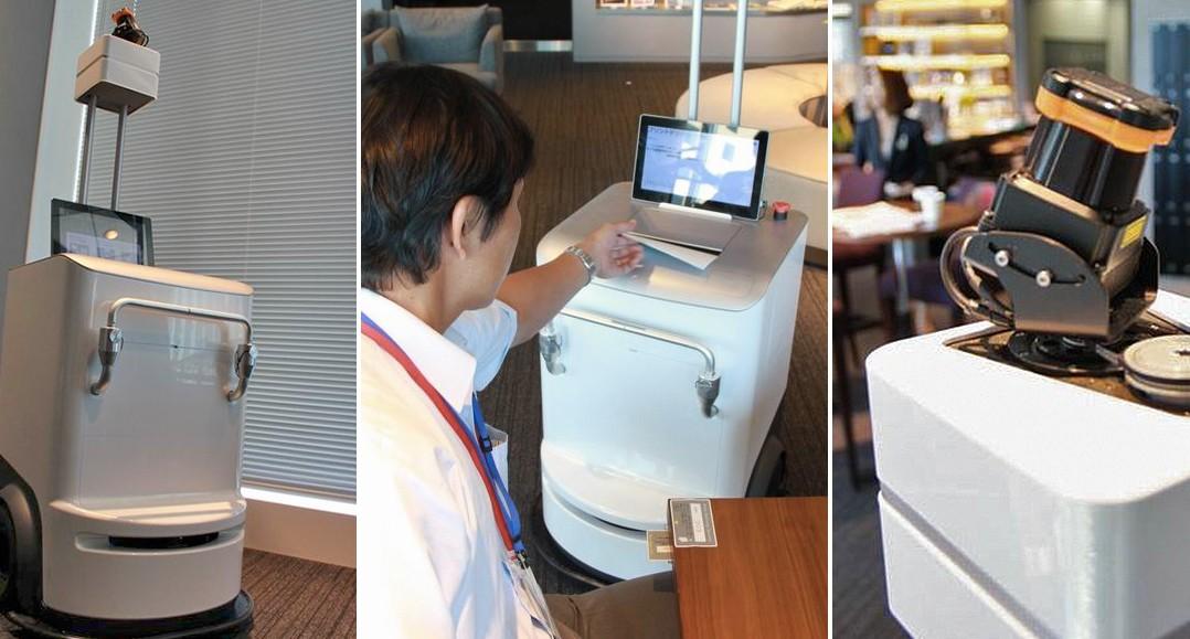 Ein Drucker der das Gedruckte an den Arbeitsplatz liefert