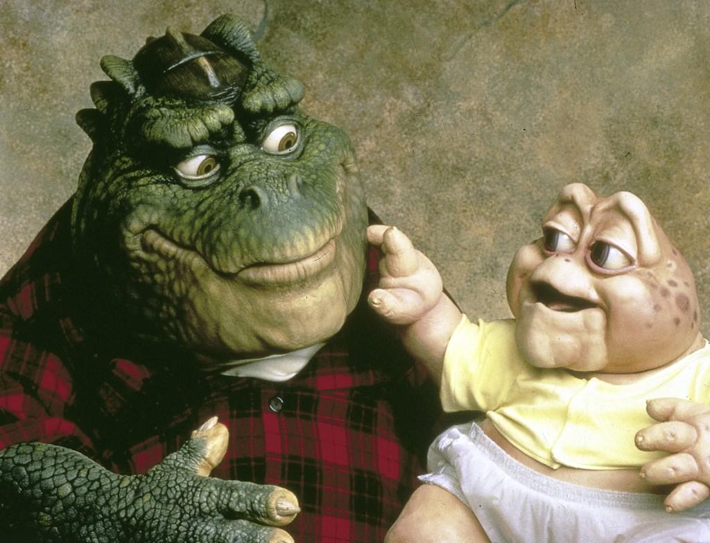 Dinoserie: Vater Earl Sinclair und das Baby der Familie.