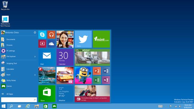 Windows 10 Startmenü mit Kachelinformation.