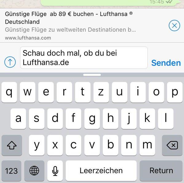 WhatsApp blendet URL-Vorschau ein