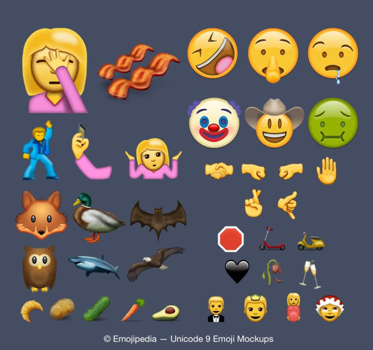 Unicode 9.0 und die 74 Emoji-Kandidaten